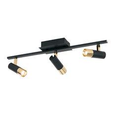 Tomares 3-Light LED Fixed Track Flush/Wall Mount, Adjustable Shade, Black/Brass