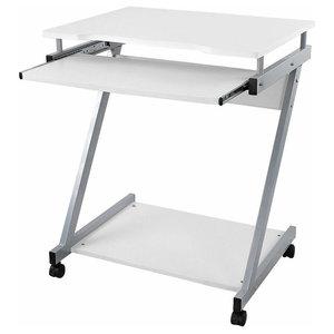 Modern Desk, MDF and Veneer With Sliding Keyboard Tray, Z-Shaped Design, White
