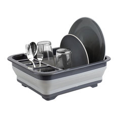 Silicone and Plastic Easy Storage Collapsible Dish Rack,Gray