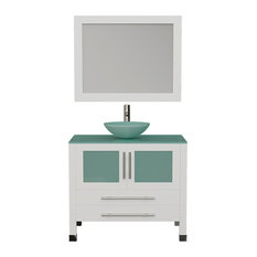 "36"" White Solid Wood & Glass Single Vessel Sink Vanity, BN faucet"