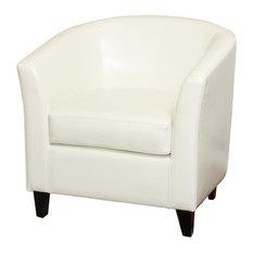 GDF Studio Prescott Tub Design Club Chair, Ivory Leather