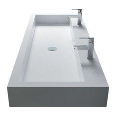 """ADM Double Rectangular Wall Mounted Sink, White, 39"""", Glossy White"""