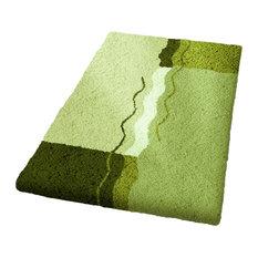 Palm Green Non Slip Luxury Cotton Bathroom Rug, Vanessa, Large
