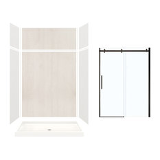 """Expressions Alcove Shower Kit With Extension and Door, Gray/Bleached Oak, 60""""x32"""