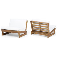 Emma Outdoor Acacia Wood Club Chairs With Cushions, Set of 2, White