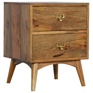 Nordic Style Mango Wood Bedside Table with 2 Drawers and Label Tabs
