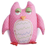 The Little Acorn - Baby Owl Shaped Toothfairy Pillow, Pink - A charming handmade decorative pillow good for Girls or Boys, our popular Tooth fairy Owl shaped pillow is now available in BABY size! Great decor in the nursery and a memorable tooth fairy pillow as little one grows up. Great coordinate for the Alphabet Adventure collection.