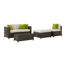 Sea Island 5-Piece Wicker Conversational Set, Gray