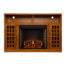 Gordon Media Electric Fireplace, Glazed Pine