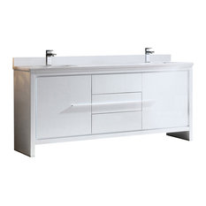 "Fresca Allier 72"" White Modern Double Sink Bathroom Cabinet With Top & Sinks"