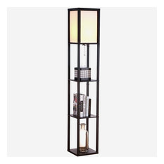 Brightech Maxwell LED Shelf Floor Lamp, Classic Black