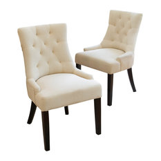 GDF Studio Janelle Tufted Fabric Dining Chairs, Set of 2