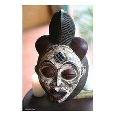 Handmade Ancestors Spirit Gabon Africa Wood Mask, Ghana