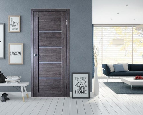 Venice Modern Interior Door Grey Oak Finish W Frosted Glass