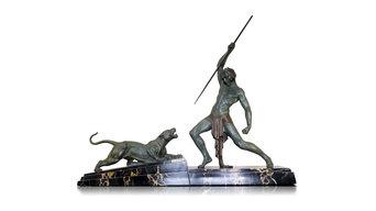 """Escultura art decó """" The Hunter """" de D.H.Chiparus. Ca, 1930"""