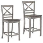 Standard Furniture - Fairhaven Gray Distressed Counter Height Barstools, Set of 2 - The Fairhaven counter height barstool has a relaxed go anywhere style with its comfortable cross-backed design and simple clean lines. A two-toned distressed oak plank and rustic gray finish completes the look.