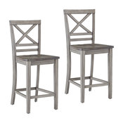 Fairhaven Gray Distressed Counter Height Barstools, Set of 2