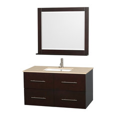 "Centra 42"" Espresso Single Vanity, Ivory Marble Top, Undermount Square Sink"
