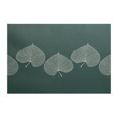 "Leaf Print 2, Floral Print Indoor/Outdoor Rug, Green, 2"" x 3-ft"
