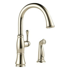 Delta Cassidy Single Handle Kitchen Faucet, Spray, Polished Nickel, 4297-PN-DST