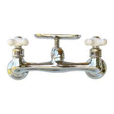 reLA - Chrome Wall Swivel Spout Utility Bridge Faucet Porcelain X Handle Soap Dish - Utility Sink Faucets