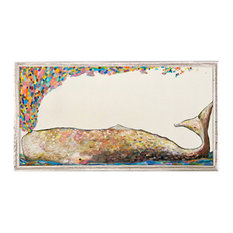 """""""Whale Spray in Antique White"""" Mini Framed Canvas by Eli Halpin"""