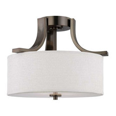 Pendenza Two Light Semi-Flush Mount Oiled Bronze Etched White Glass Whi