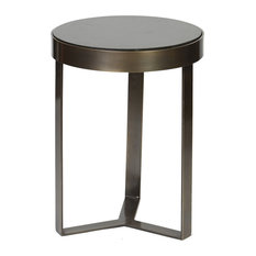 Prima Design Source   Contemporary Metal And Stone Accent Table In Antique  Brass, Black Granite