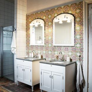 Bathroom - mediterranean cement tile brick floor bathroom idea in Gothenburg
