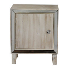 23.5' White Washed Wood Accent Cabinet with a Door and Antique Mirrored Glass by HomeRoots