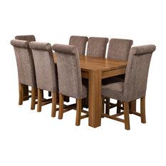 Kuba Chunky Oak Dining Table With 8 Washington Chairs, Grey Velvet Effect