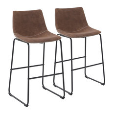 Vintage Set Of 2 Bar Stools Leathaire With Height Back Comfortable Brown