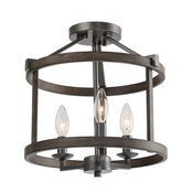 LNC 3-Light Foyer Lantern Double Layers Semi-flush Mount Lighting