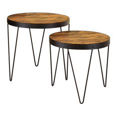 Set of 2 Round Metal Table With Wood Top Brown and Black by Benzara Woodland Imprts The Urban Port