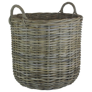 Tall Round Fireside Grey Rattan Log Basket, Small