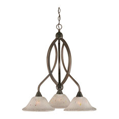 Bow 3-Light Chandelier, Black Copper, Frosted Crystal Glass