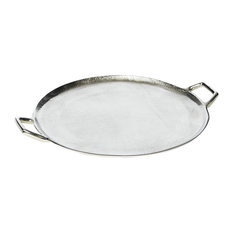 Round Aluminium Serving Tray With Handles
