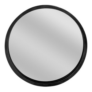 Round Wooden Wall Mirror, Black