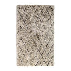 Elegante Handwoven Diamond Shag Area Rug, Light Gray, 2'x3' by Kosas Home