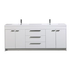 Eviva Lugano 84-inch White Modern Double Sink Bathroom Vanity Integrated Acrylic