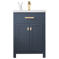 """24"""" Single Vanity With Double Door Without Faucet, Monarch Blue"""
