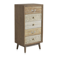 Natural Wooden Chest With 5 Drawers