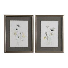 Stem Illusion Floral Watercolor Framed Prints, 2-Piece Set