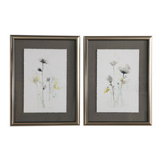 Stem Illusion Floral Watercolor Framed Prints, 2-Piece Set