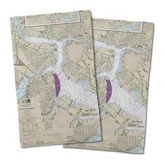 Boston, Ma Nautical Chart Hand Towels, Set of 2