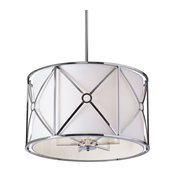 Cruz 6-Light Flush Mount, Metal Cage With White Shade, Polished Chrome