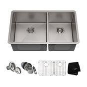"33"" Undermount Stainless Steel Kitchen Sink, Double 60/40 Bowl 16 Gauge"