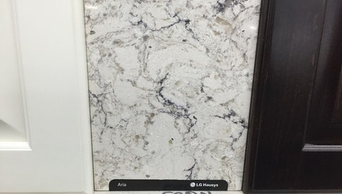 Would Like Any Input On Using This Lg Aria Quartz Countertop With Our Maple Canvas Kraftmaid Cabinets A Cherry Peppercorn Island Thoughts