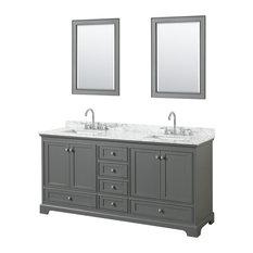 "Deborah 72"" Double Vanity With Mirror, Dark Gray, Carrara Top, Square Sinks"