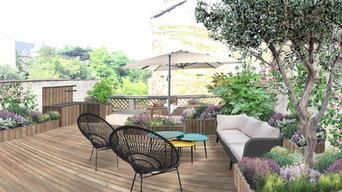 Conception d'une terrasse avec salon de jardin et cuisine d'été